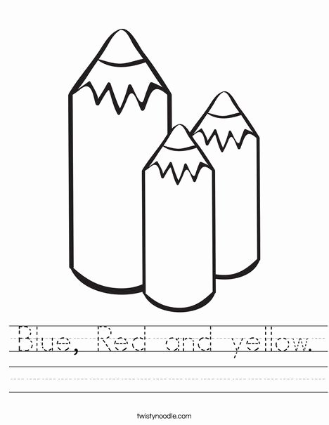Primary Colors Worksheets for Preschoolers Fresh Blue Red and Yellow Worksheet