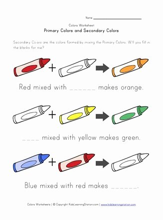 Primary Colors Worksheets for Preschoolers Fresh Primary and Secondary Colors Worksheet