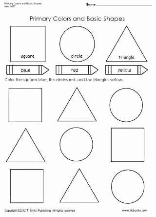 Primary Colors Worksheets for Preschoolers Printable Primary Colors and Basic Shapes Worksheet