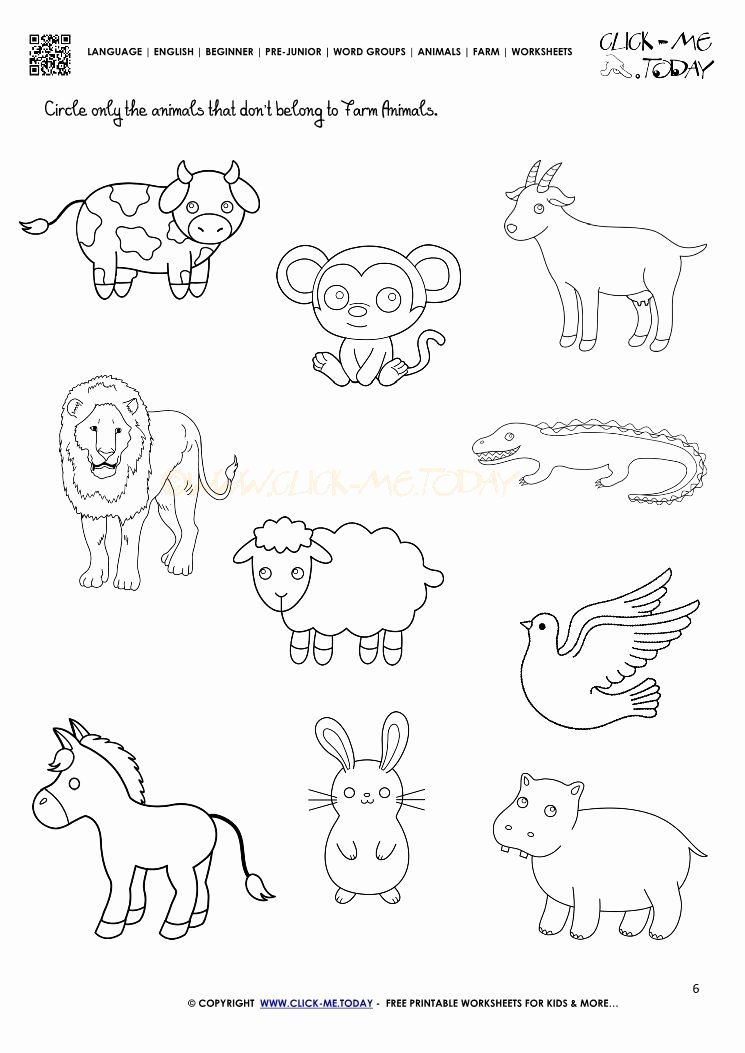 Printable Animal Worksheets for Preschoolers New Farm Animals Worksheet Activity Sheet 6
