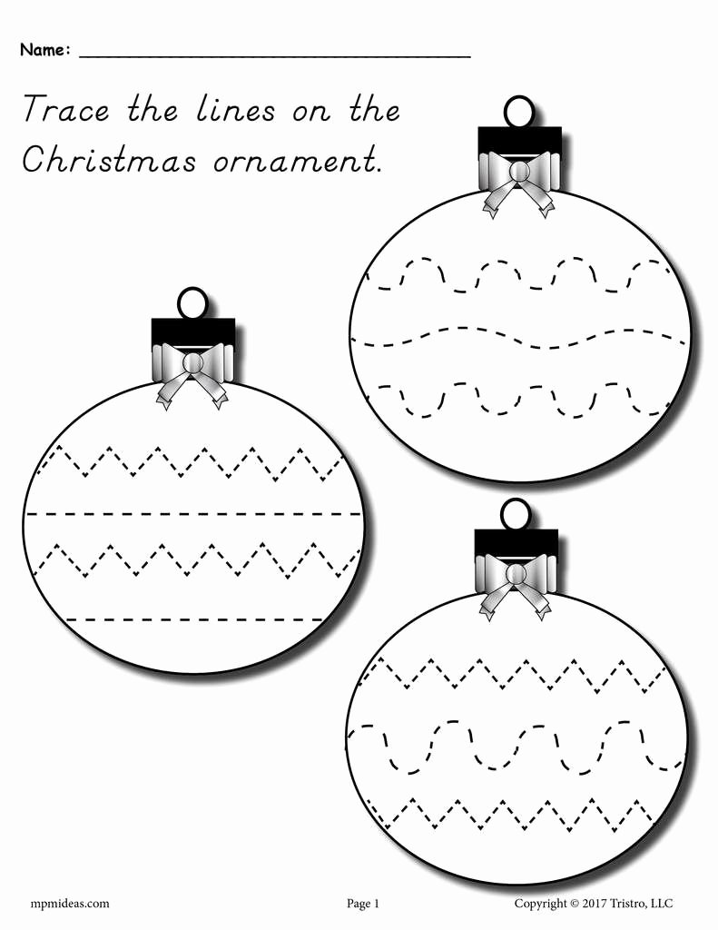 Printable Christmas Worksheets for Preschoolers Fresh Free Printable Christmas ornament Line Tracing Worksheet