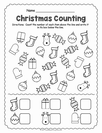 Printable Christmas Worksheets for Preschoolers Printable Free Printable Christmas Counting Worksheet Worksheets
