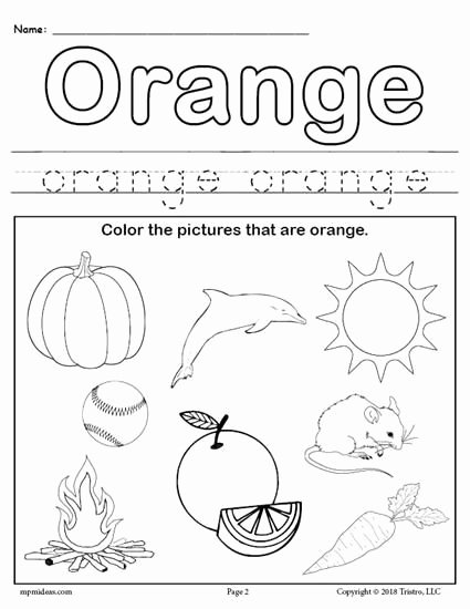 Printable Colors Worksheets for Preschoolers Free Color orange Worksheet