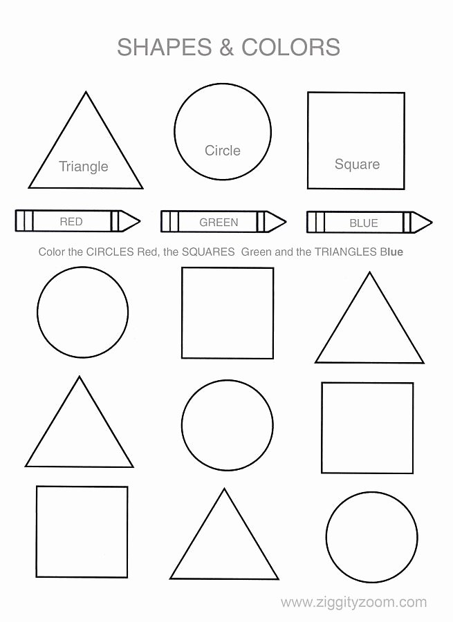 Printable Colors Worksheets for Preschoolers Kids Shapes and Colors Worksheets for Kindergarten Students
