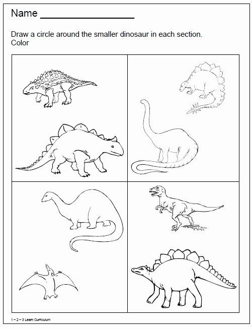 Printable Dinosaur Worksheets for Preschoolers Printable 1 2 3 Learn Curriculum Dinosaur Worksheets