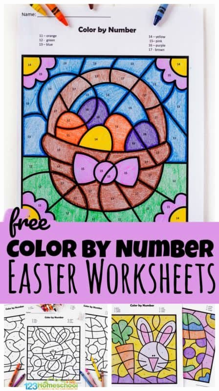 Printable Easter Worksheets for Preschoolers Free Free Easter Color by Number Worksheets