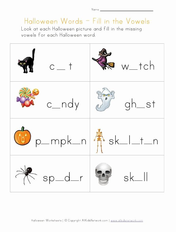 Printable Halloween Worksheets for Preschoolers Inspirational Halloween Worksheet Fill In the Missing Vowels