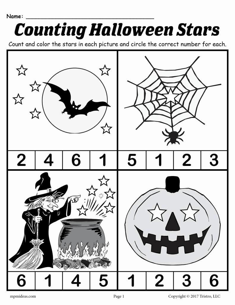 Printable Halloween Worksheets for Preschoolers top Printable Preschool Halloween Counting Worksheet