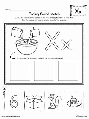 Printable Letter X Worksheets for Preschoolers Ideas Letter X Ending sound Picture Match Worksheet