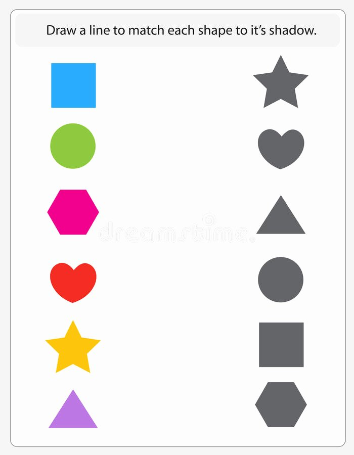 Printable Matching Worksheets for Preschoolers Best Of Kids Worksheet Matching Shapes and Shadows Stock Vector