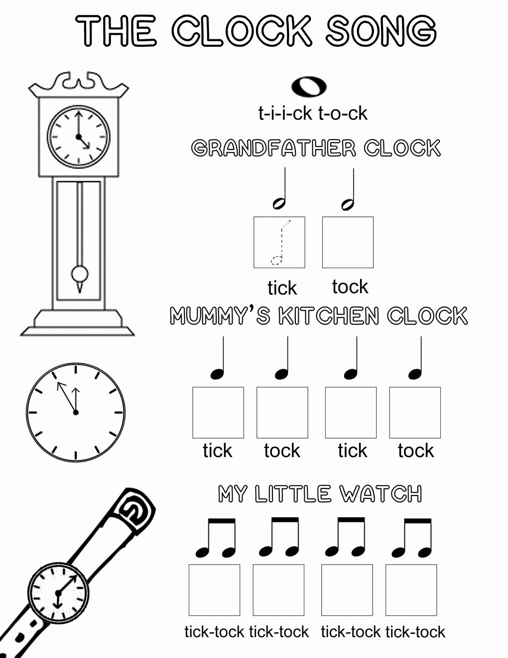 Printable Music Worksheets for Preschoolers Best Of the Clock song An Easy Way to Learn Musical Note Values