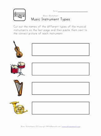 Printable Music Worksheets for Preschoolers New Music Worksheet Instrument Types