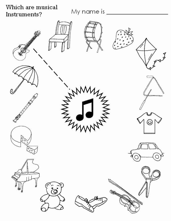 Printable Music Worksheets for Preschoolers New Musical Instruments Worksheet for Kids Kindergarten Music