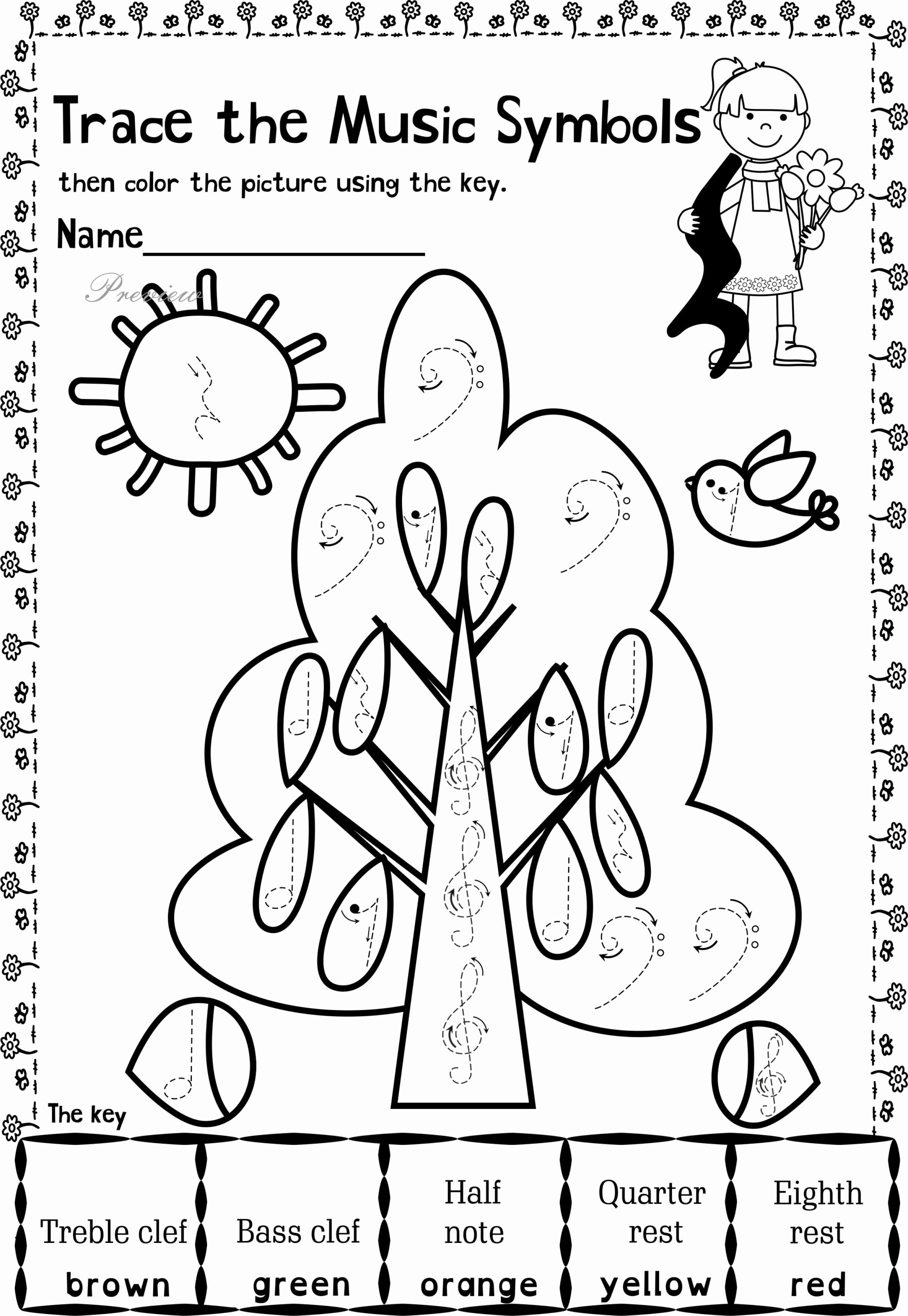 Printable Music Worksheets for Preschoolers top Music themed Coloring at Getdrawings Free Worksheets for