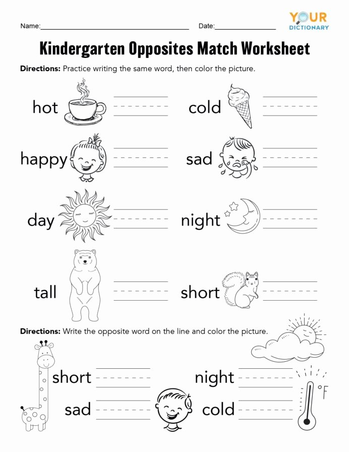 Printable Opposite Worksheets for Preschoolers Best Of Kindergarten Opposites Activities Worksheets for Preschool