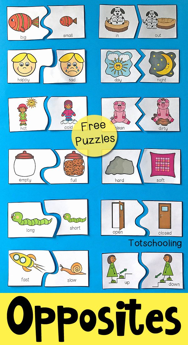 Printable Opposite Worksheets for Preschoolers Kids Opposites Puzzles for Preschool