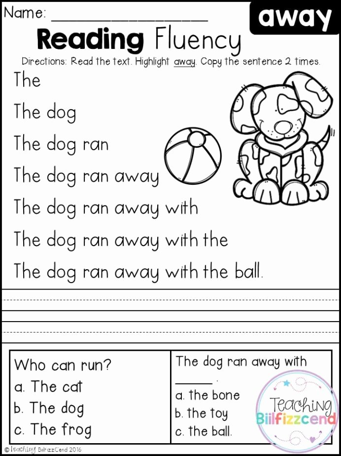 Printable Reading Worksheets for Preschoolers Ideas Free Reading Fluency and Prehension Set Kindergarten