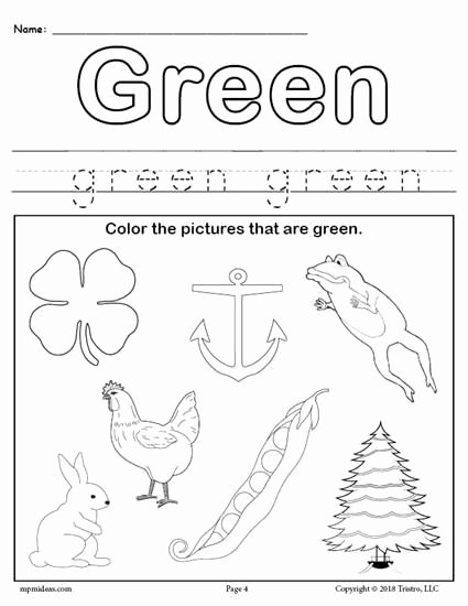 Printable Worksheets for Preschoolers Colors Ideas Color Green Worksheet