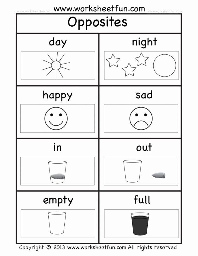 Printable Worksheets for Preschoolers Kids Opposites Worksheets Preschool the for Words Grade