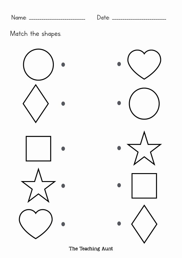 Printable Worksheets for Preschoolers Matching Fresh to Teach Basic Shapes Preschoolers the Teaching Aunt