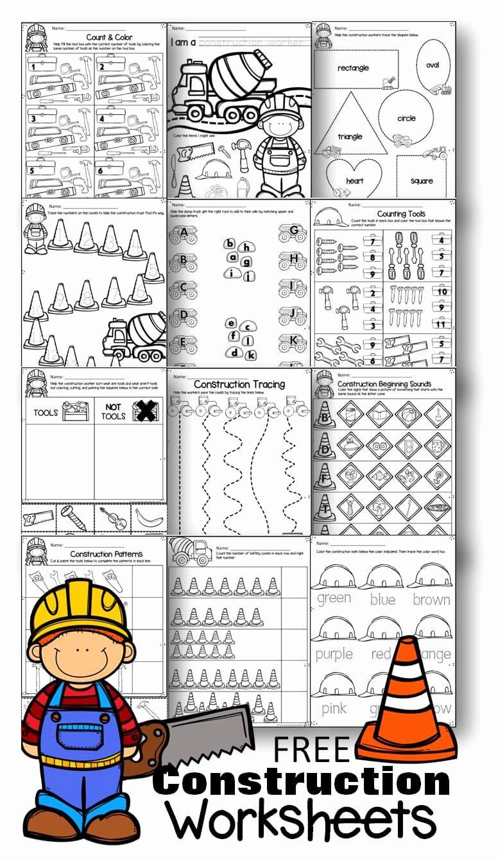 Printable Worksheets for Preschoolers Matching New Free Construction Worksheets for Preschoolers