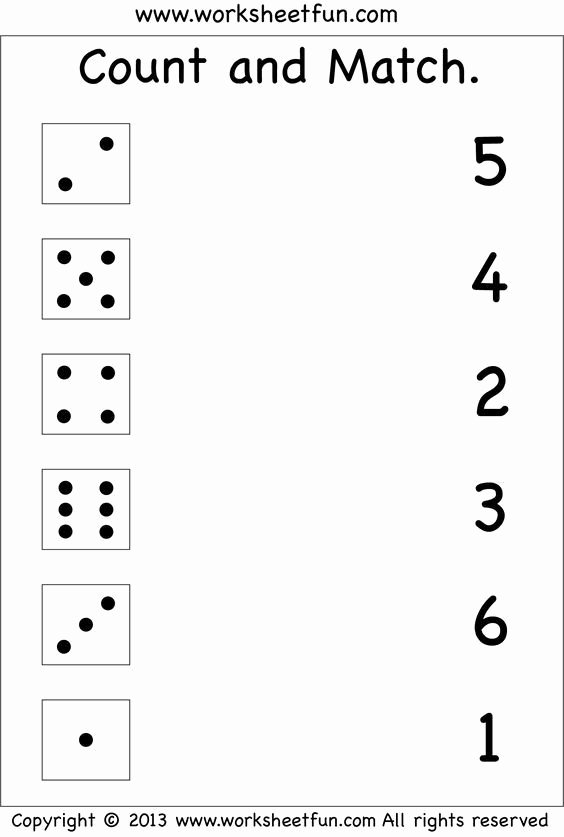 Printable Worksheets for Preschoolers Matching top Numbers – Count and Match Free Printable Worksheets