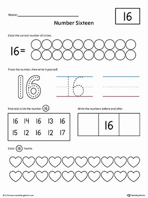 Printable Worksheets for Preschoolers Numbers Lovely Number 16 Practice Worksheet