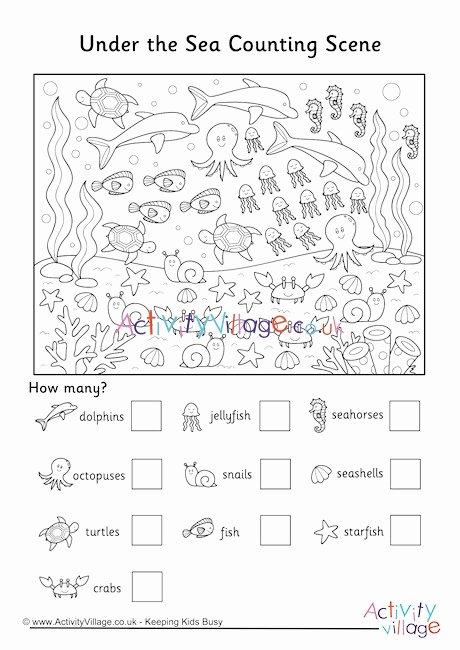 Printable Worksheets for Preschoolers Uk Inspirational Under the Sea Counting Scene Worksheet Worksheets Printables