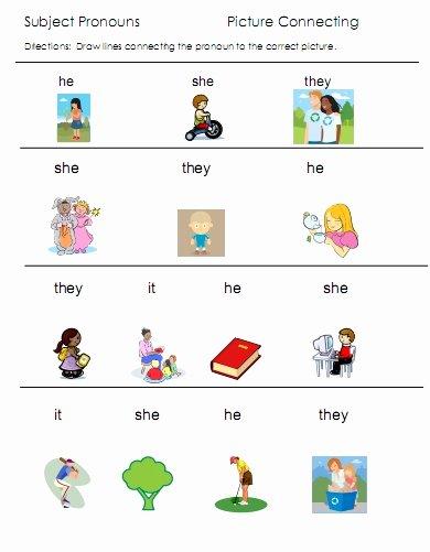 Pronoun Worksheets for Preschoolers Free Pronouns