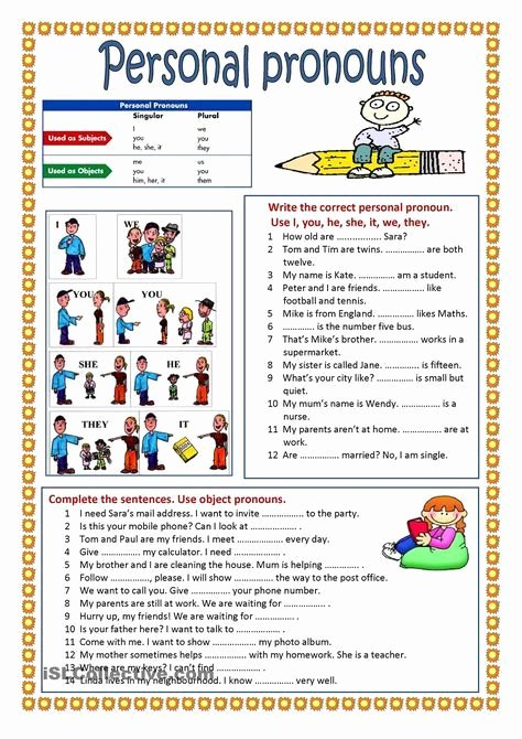 Pronoun Worksheets for Preschoolers Inspirational Personal Pronouns