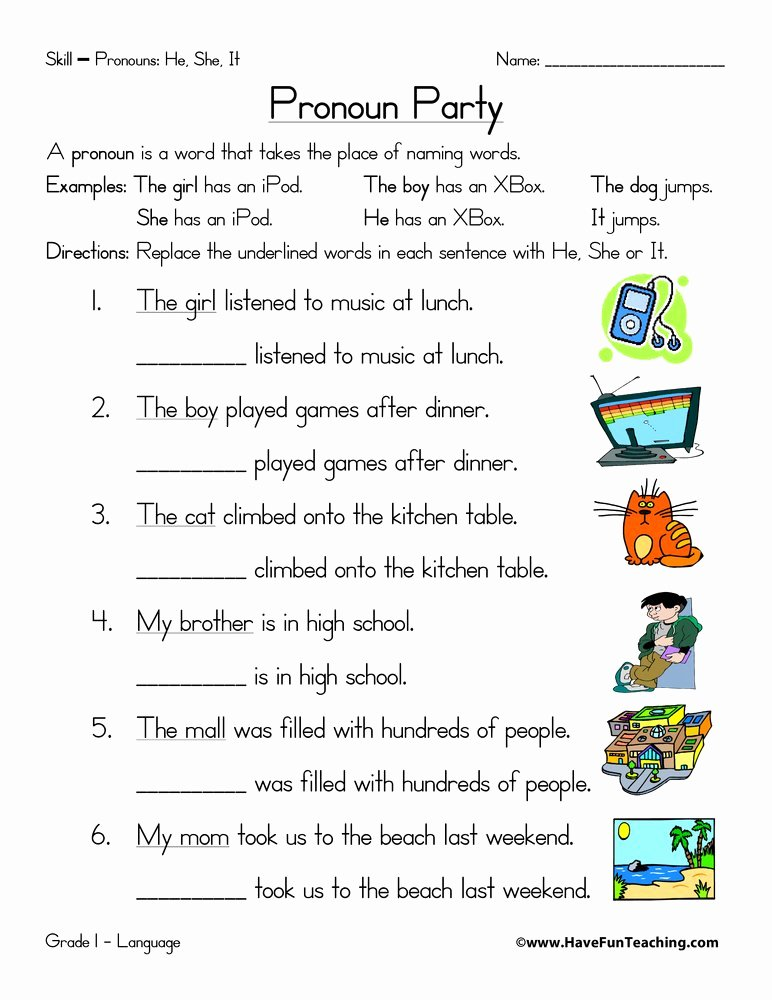 Pronoun Worksheets for Preschoolers top Pronoun Worksheet