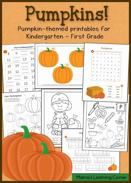 Pumpkin Math Worksheets for Preschoolers Ideas Pumpkin Worksheets for Kindergarten and First Grade