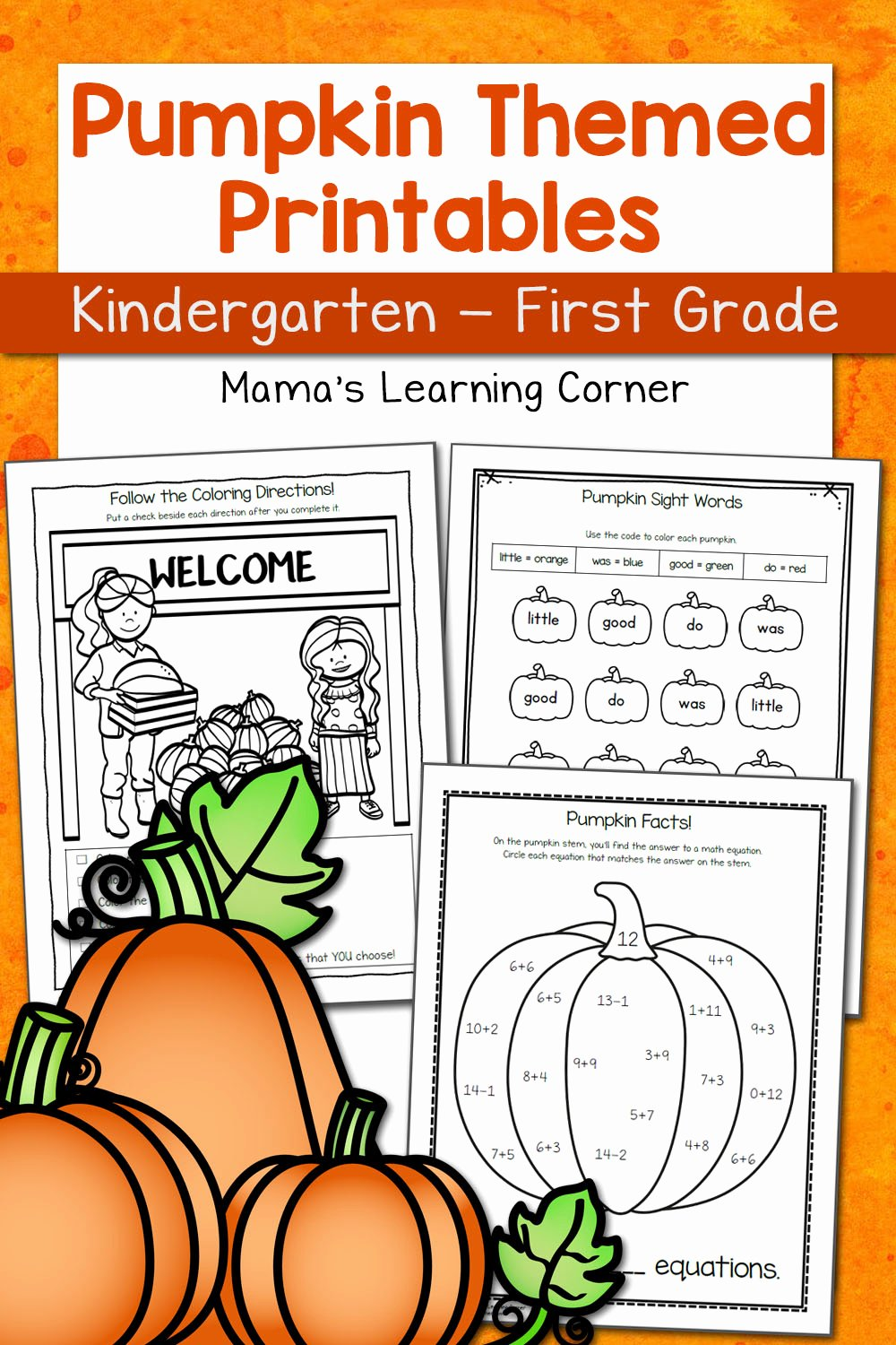 Pumpkin Math Worksheets for Preschoolers Kids Pumpkin Worksheets for Kindergarten and First Grade Mamas