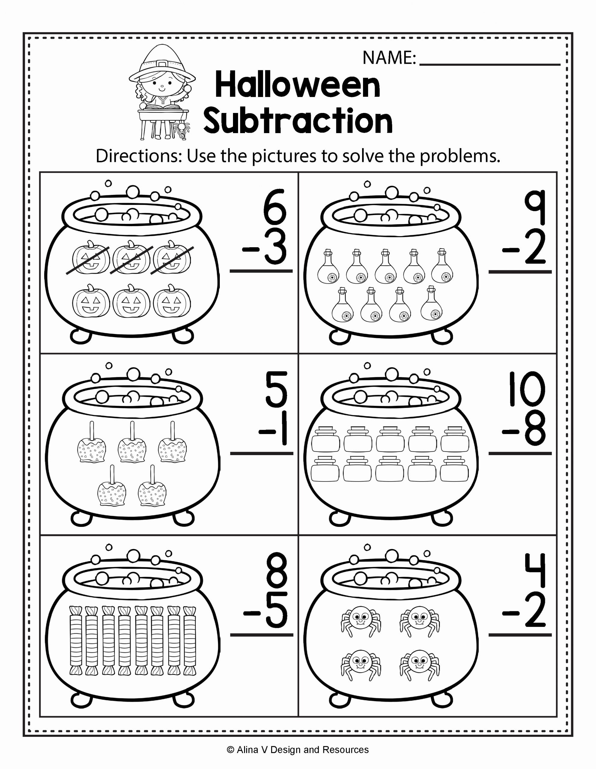 Pumpkin Math Worksheets for Preschoolers Lovely Halloween Math & Literacy Activities for Kindergarten 1st