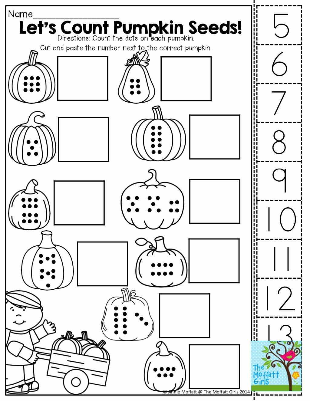Pumpkin Math Worksheets for Preschoolers New Pin On October