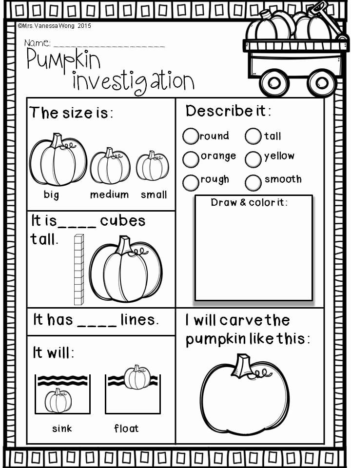 Pumpkin Math Worksheets for Preschoolers Printable Fall Activities for Kindergarten Math and Literacy No Prep
