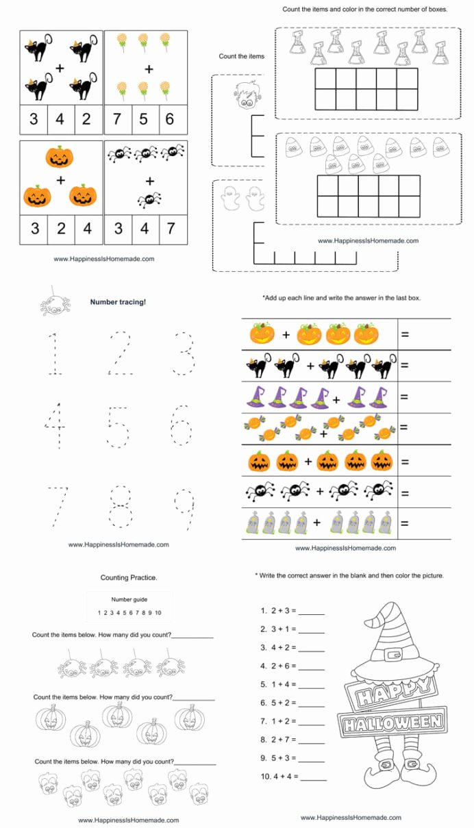 Pumpkin Math Worksheets for Preschoolers top Kindergarten Halloween Math Pack Happiness is Homemade