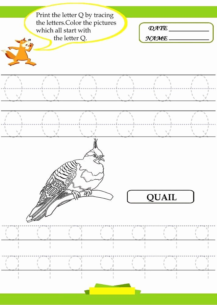 Quail Worksheets for Preschoolers Fresh Free Traceable Letters Quail 001