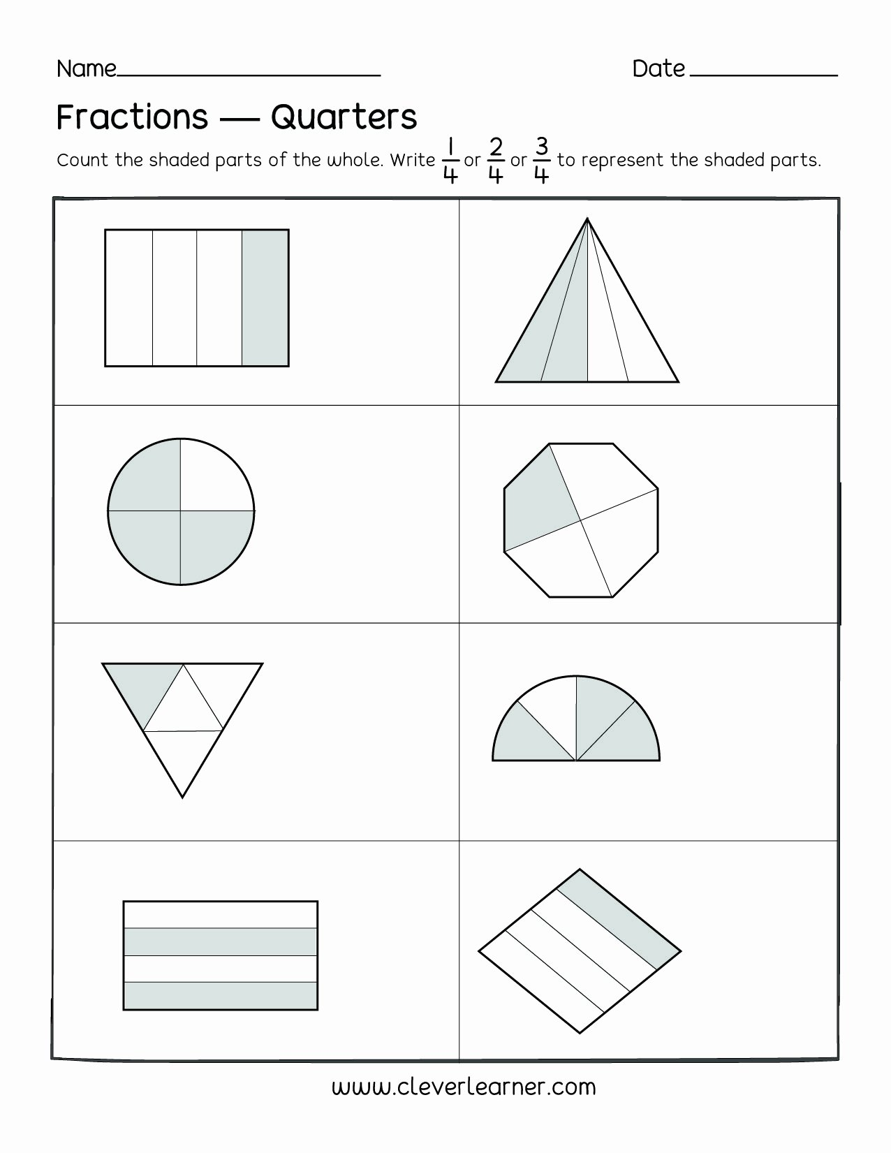 Quarter Worksheets for Preschoolers Best Of Fun Activity On Fractions Fourths Worksheets for Children