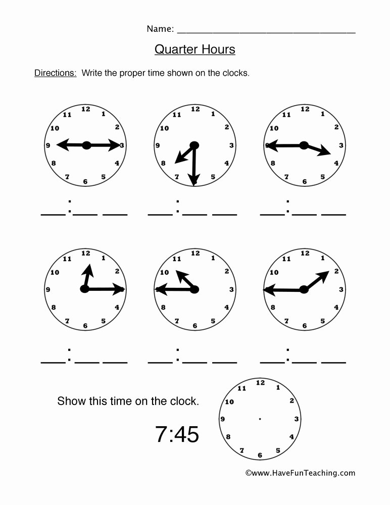 Quarter Worksheets for Preschoolers Fresh Count Quarter Hours Worksheet
