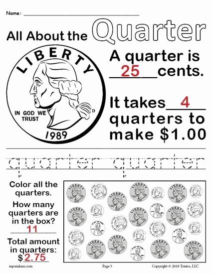 Quarter Worksheets for Preschoolers Ideas All About Coins 4 Printable Money Worksheets