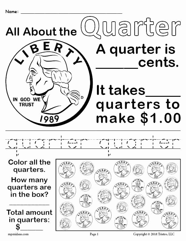 Quarter Worksheets for Preschoolers Kids All About Coins 4 Printable Money Worksheets