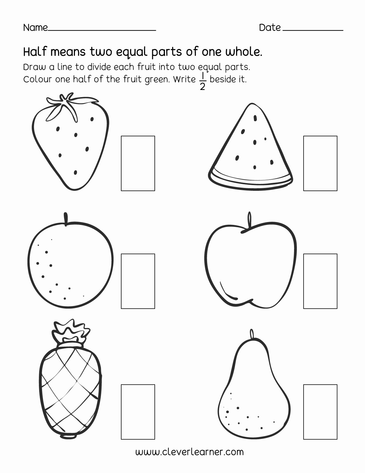 Quarter Worksheets for Preschoolers Printable Fun Activity On Fractions Half 1 2 Worksheets for Children