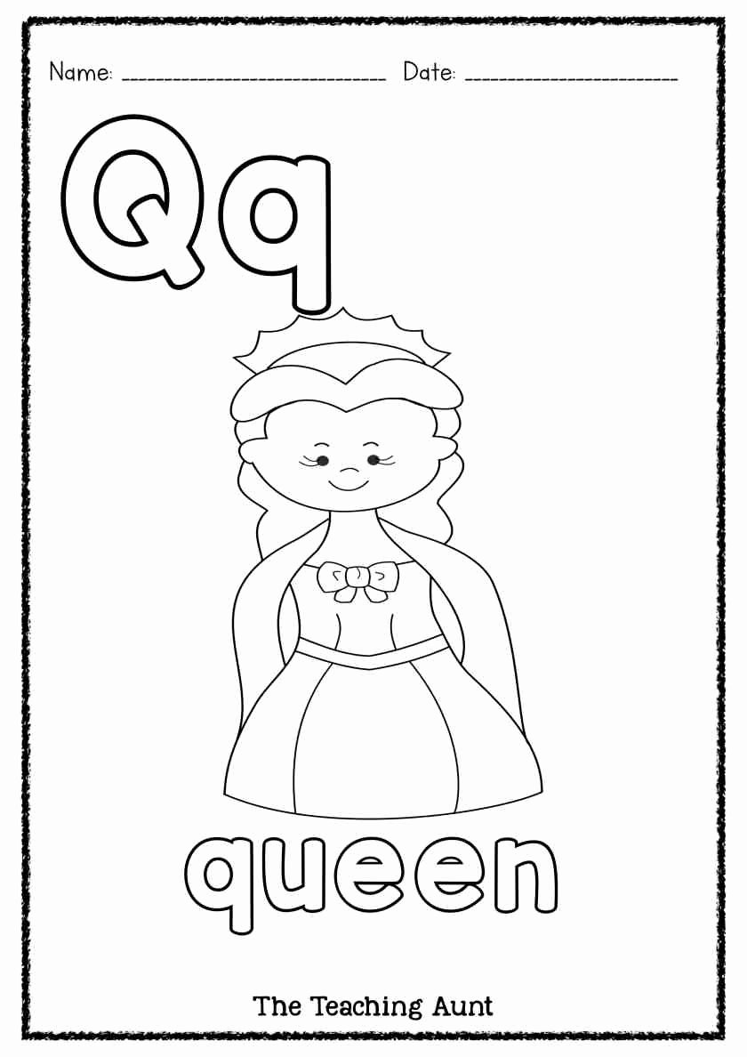 Queen Worksheets for Preschoolers New Q is for Queen Art and Craft the Teaching Aunt