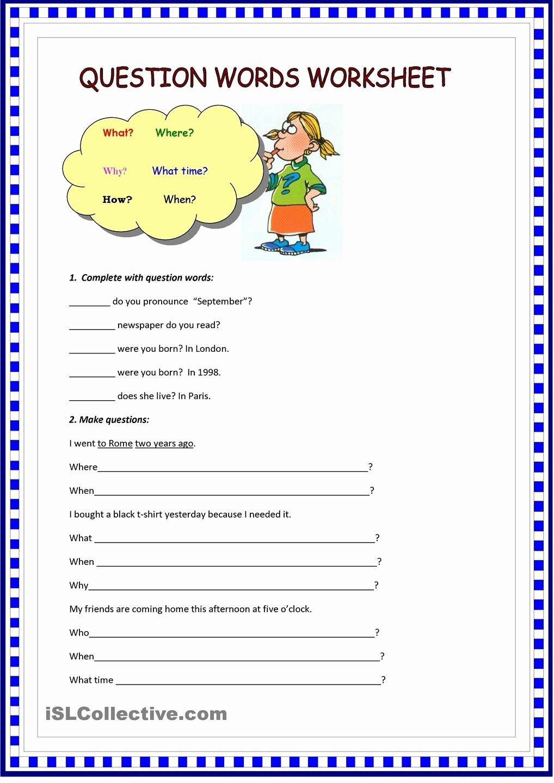 Question Words Worksheets for Preschoolers Ideas Question Words Worksheet