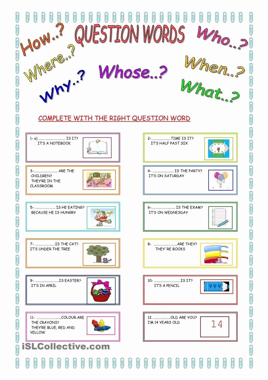 Question Words Worksheets for Preschoolers Ideas Worksheet Question Words In Spanish