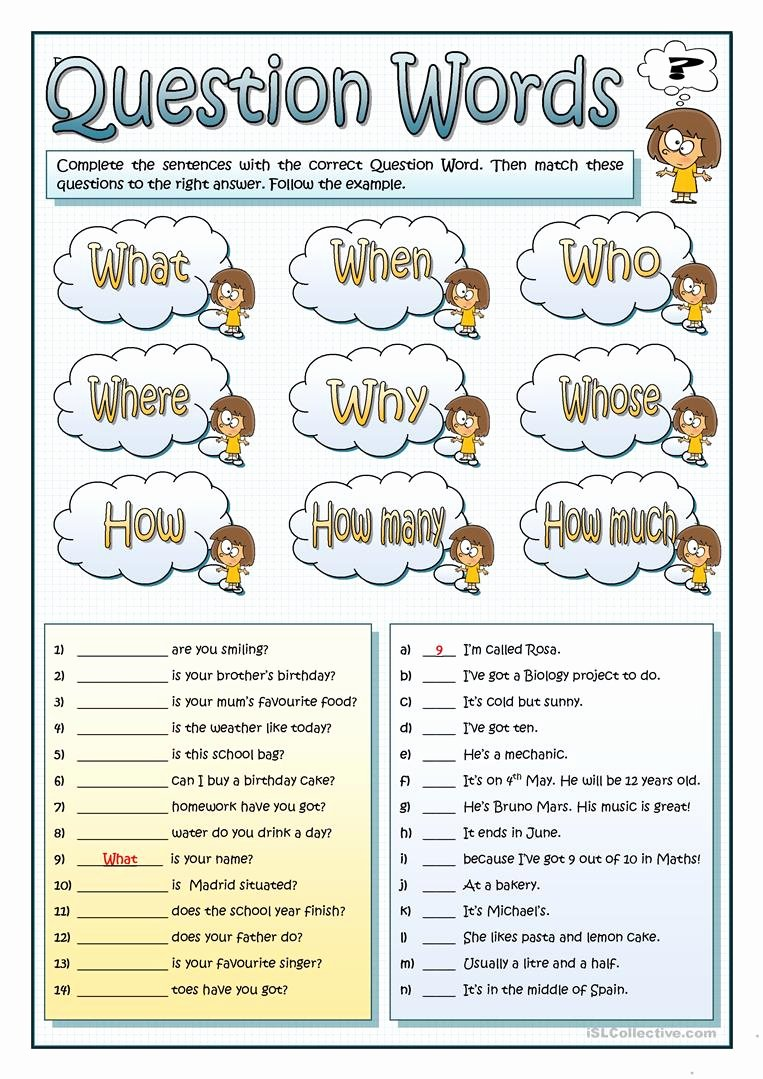 Question Words Worksheets for Preschoolers Kids English Esl Question Words Worksheets Most Ed 339