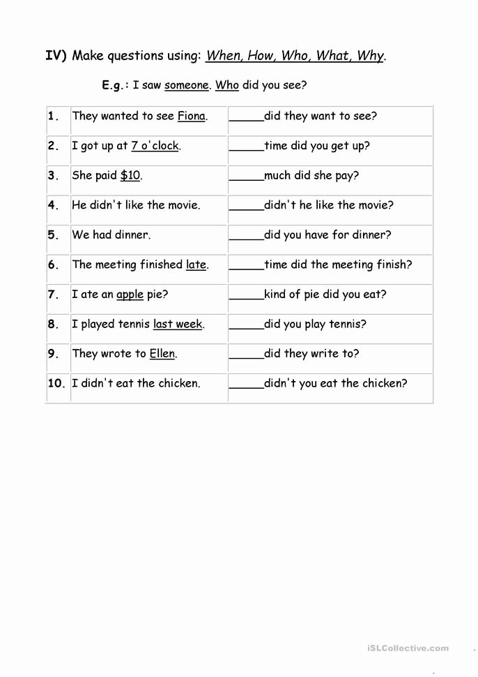 Question Words Worksheets for Preschoolers Lovely Exercises Wh Question Words Worksheet Free Esl Printable