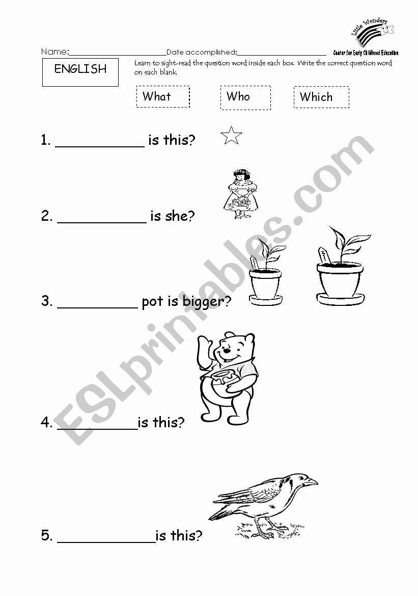 Question Words Worksheets for Preschoolers New English Worksheets Basic Question Words