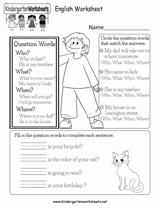 Question Words Worksheets for Preschoolers Printable English Worksheet Free Kindergarten for Kids Printable